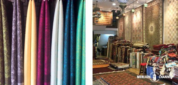 アラブストリートにはスカーフやカーペット屋さんがいっぱい
