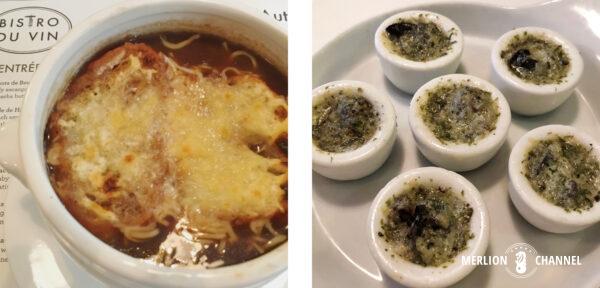 ビストロ・デュ・ヴァンのオニオンスープ&エスカルゴ