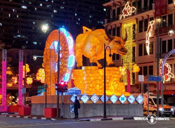毎年恒例チャイナタウンの干支装飾ライトアップー2021は丑(うし)年
