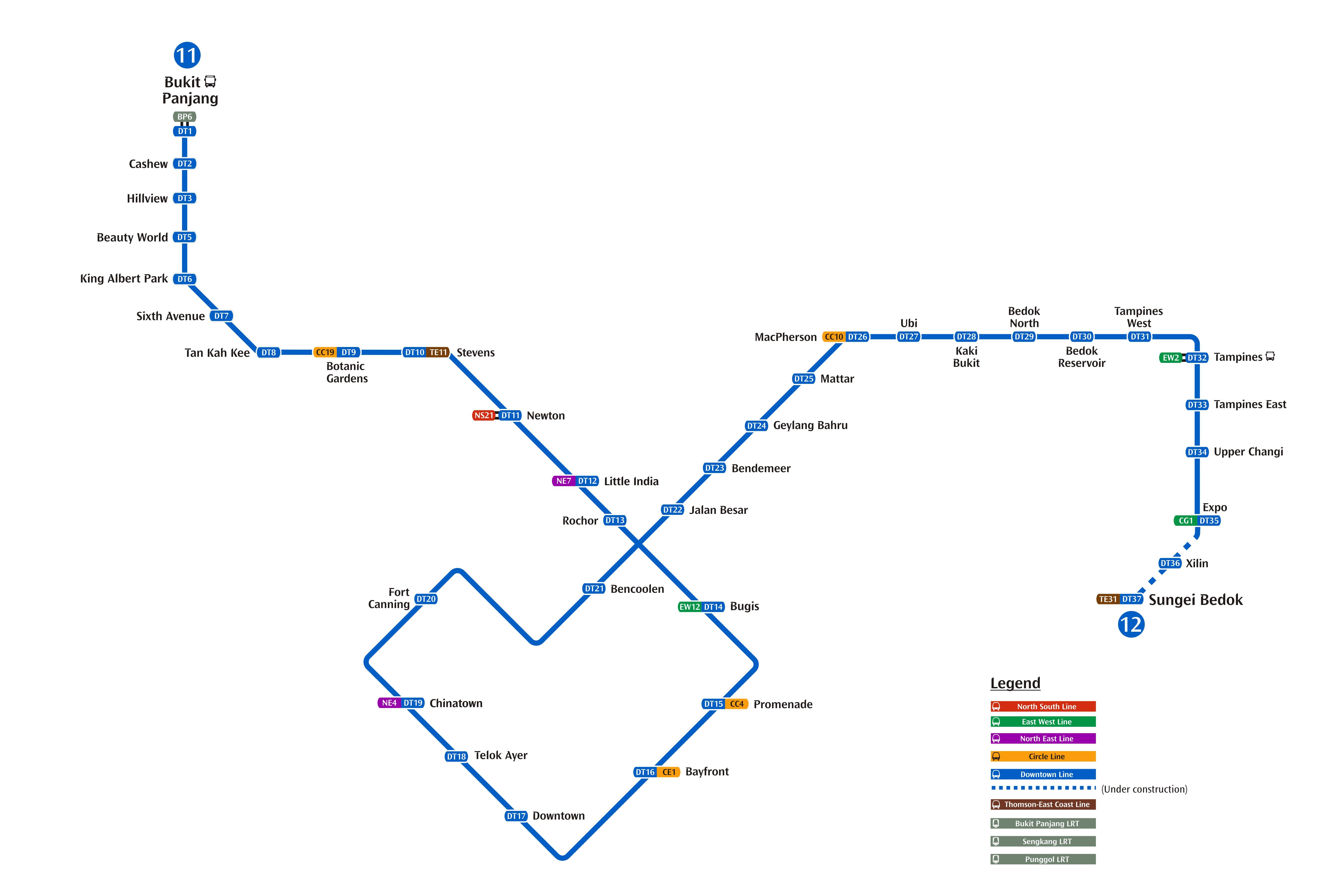 MRTダウンタウン線MAP