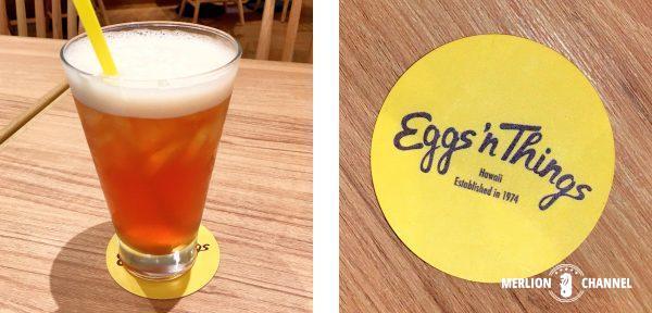 Eggs'n Thingsのアイスティーとコースター