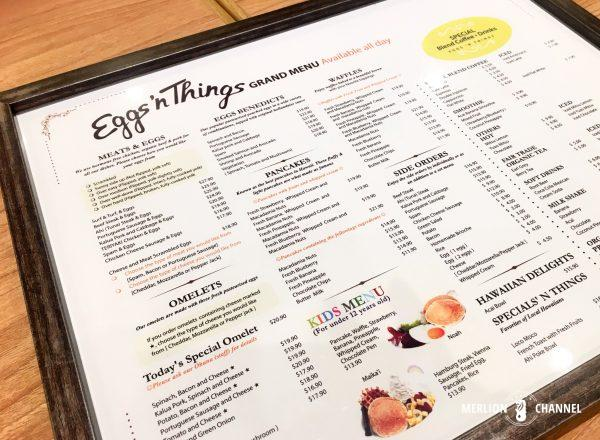 Eggs'n Thingsのメニュー