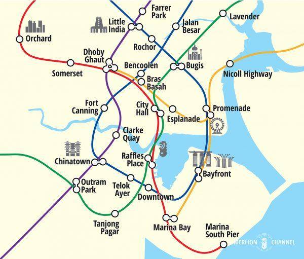 シンガポール中心市街地(CBD)の地図