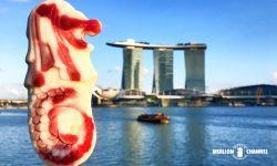 シンガポールのシンボル「マリーナベイサンズ」をバックに「マーライオン・アイス」