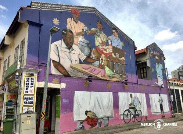 リトルインディアのストリートアート「Raditional Trades of Little India」by Psyfool