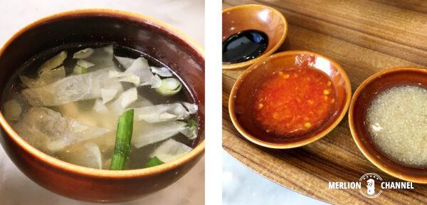 ロイキー・ベスト・チキンライス(Loy Kee Best Chicken Rice)のスープと3種ソース