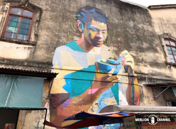 行列のできる「潮州チェンドル」のストリートアート