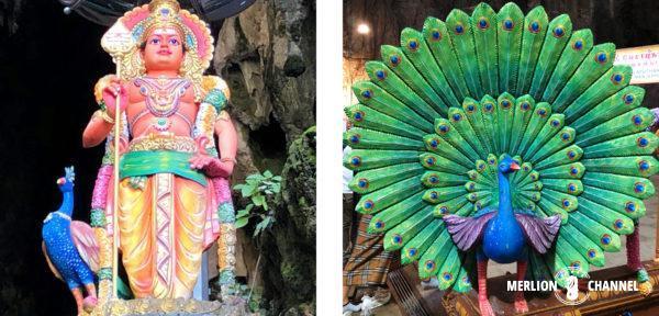 「バトゥ洞窟」鮮やかなムルガン像や孔雀の彫刻