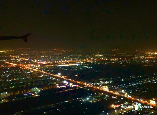 上空からみるバンコクの街灯り