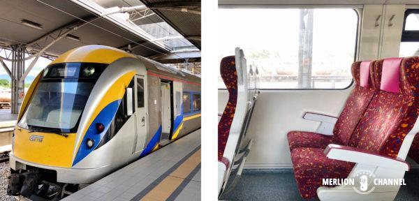 クアラルンプールに向かう列車と、その車内