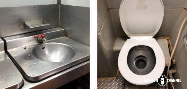 タイ国鉄の寝台特急の洗面所・トイレ