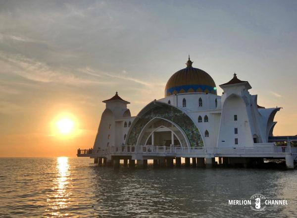 「マラッカ海峡モスク」のサンセット(日没)