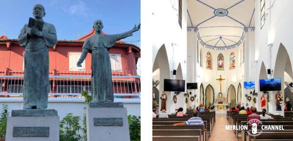 「セント・フランシス ・ザビエル教会」内に建つ、やじろうとザビエルの像