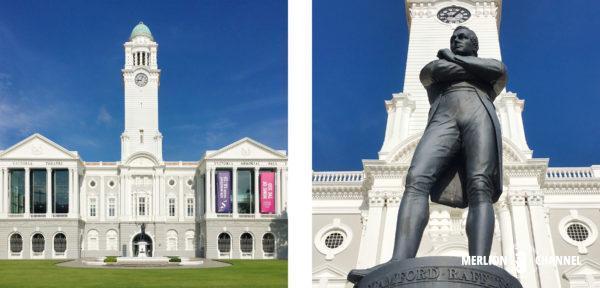 ビクトリア・シアターの前に建つ「黒いラッフルズ卿の像」