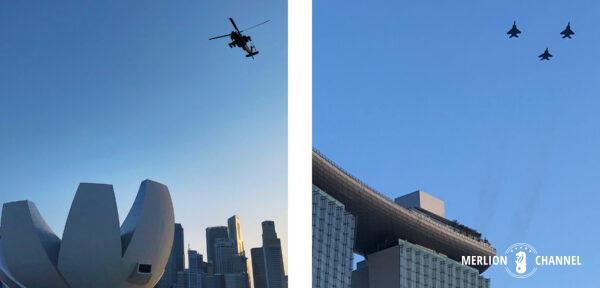 ナショナルデー・パレードで披露される軍事ヘリコプターや戦闘機のデモンストレーション