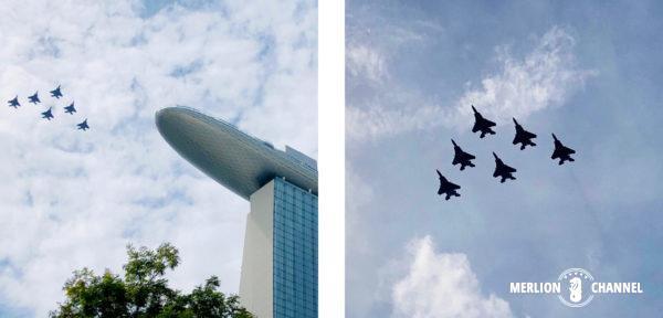 空軍の戦闘機F15SGによる隊列飛行