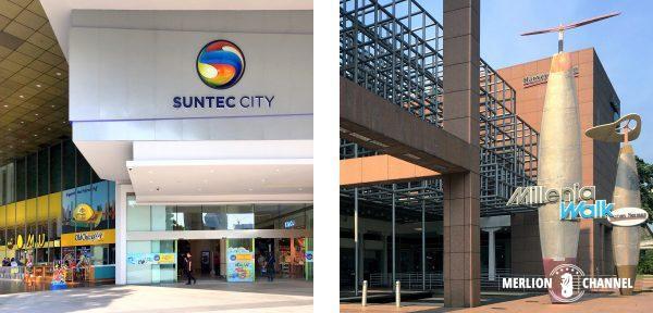 大型ショッピングモール「サンテックシティ(Suntec City)」「ミレニアウォーク(Millenia Walk)」