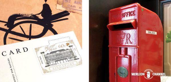 ラッフルズ・ブティックお土産「ハガキ」に貼付されたラッフルズの特別切手