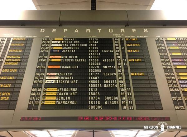 チャンギ空港ターミナル2のフライト情報掲示板