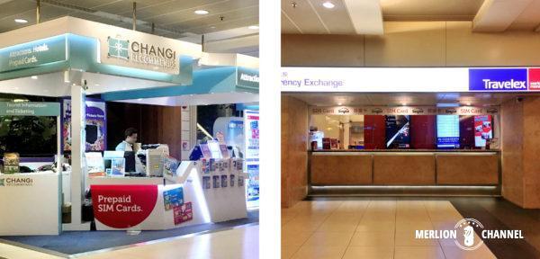 チャンギ空港ターミナル2の「SIMカード売場」と「両替所」