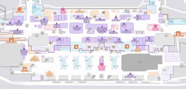チャンギ空港ターミナル2の2階「出発フロア」の地図