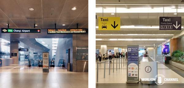 チャンギ空港ターミナル2のMRTとタクシー乗り場