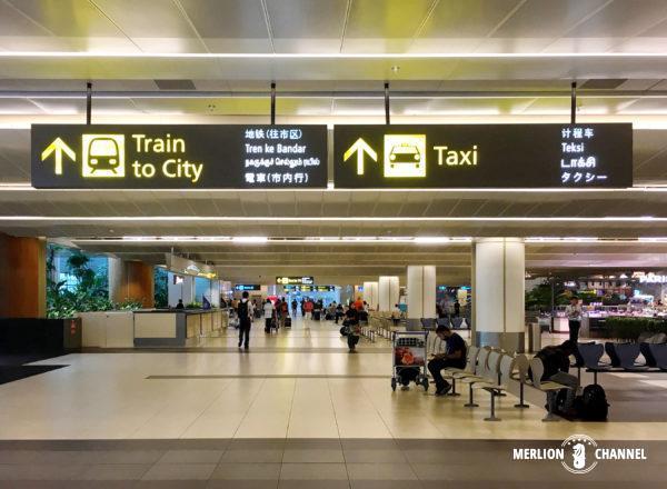 チャンギ空港ターミナル2の市内への案内看板
