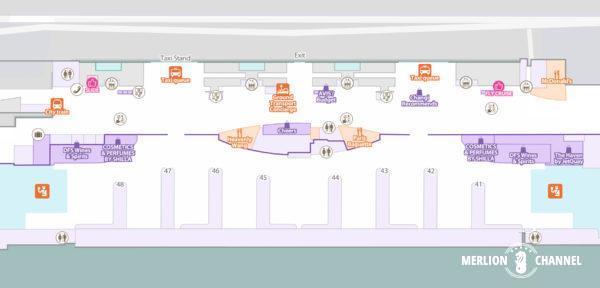 チャンギ空港ターミナル3の1階「到着フロア」の地図