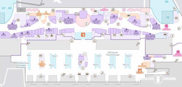 チャンギ空港ターミナル3の2階「出発フロア」の地図