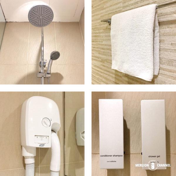 チャンギ空港ターミナル3のラウンジ「Haven」のシャワールーム設備