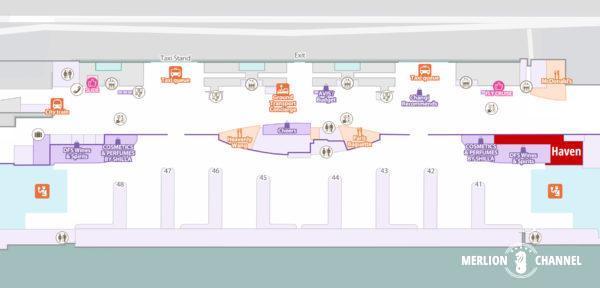 チャンギ空港ターミナル3のラウンジ「Haven」の場所