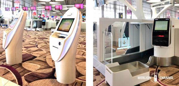 チャンギ空港ターミナル4の2階「出発フロア」にある無人チェックイン・システム
