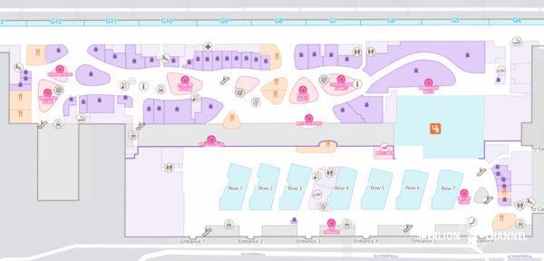 チャンギ空港ターミナル4の2階「出発フロア」の地図
