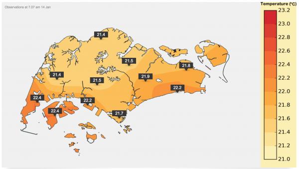 シンガポール島内の気温分布図