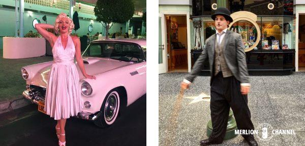 ユニバーサルスタジオ・シンガポール(USS)の「ミート&グリート」でのマリリン・モンローとチャップリン