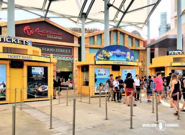 ユニバーサルスタジオ・シンガポール(USS)入場ゲート前にある一般チケットの売り場
