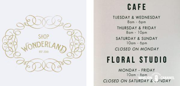 Shop Wonderlandロゴと看板