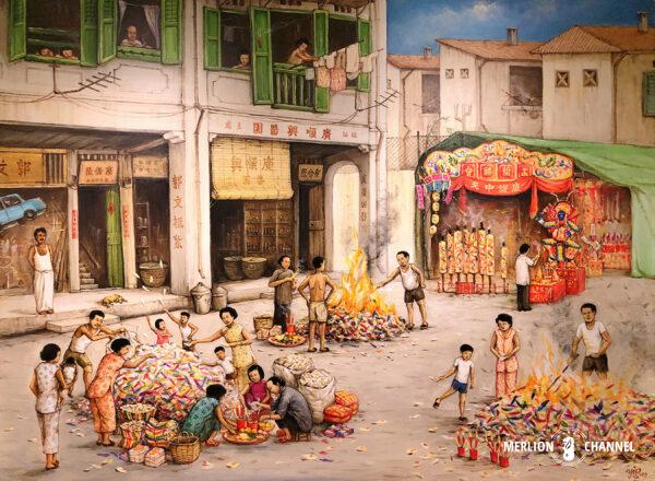 Yip Yew Chongの2回目の個展「Stories from Yesteryear」の作品「Hungry Ghost Festival」