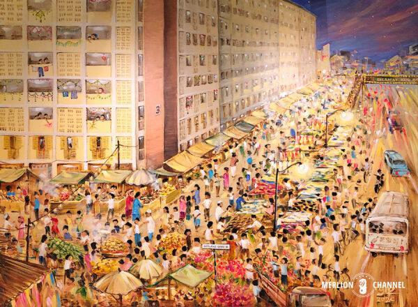 Yip Yew Chongの2回目の個展「Stories from Yesteryear」の作品「Geylang Serai Bazaar Raya」