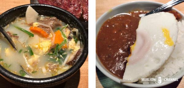 「焼肉・矢澤」の「牛ひき肉カレーライス」と「カルビスープ」