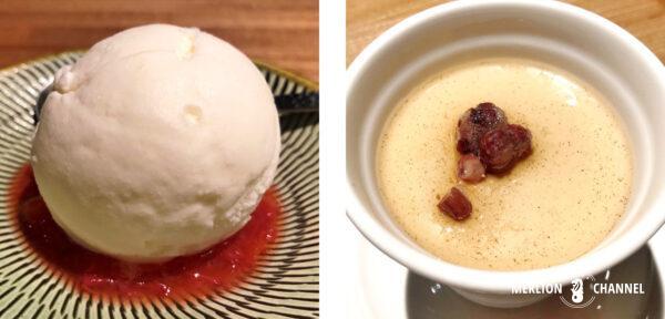 「焼肉・矢澤」の「牛乳ジェラート苺のピュレ添え」と「ほうじ茶パンナコッタ」