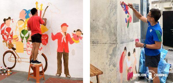 Yip Yew Chong氏による壁画制作中の様子